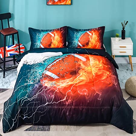 1 Baseball Comforter, 2 Pillowcases Teens Andency Baseball Comforter Queen Sport Microfiber Comforter Set Bedding Set for Boys Kids 3 Pieces 90x90 Inch