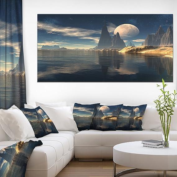 Amazon Com Designart Antara Alien Planet Photography Canvas Print 48x28 4 Panels 28 H X 48 W X 1 D 4p Wall Art