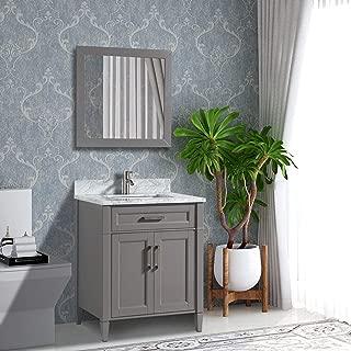 Vanity Art 24 Inch Single Sink Bathroom Vanity Set | Carrara Marble Stone Soft Closing Doors Undermount Rectangle Sink with Free Mirror - VA2024-G