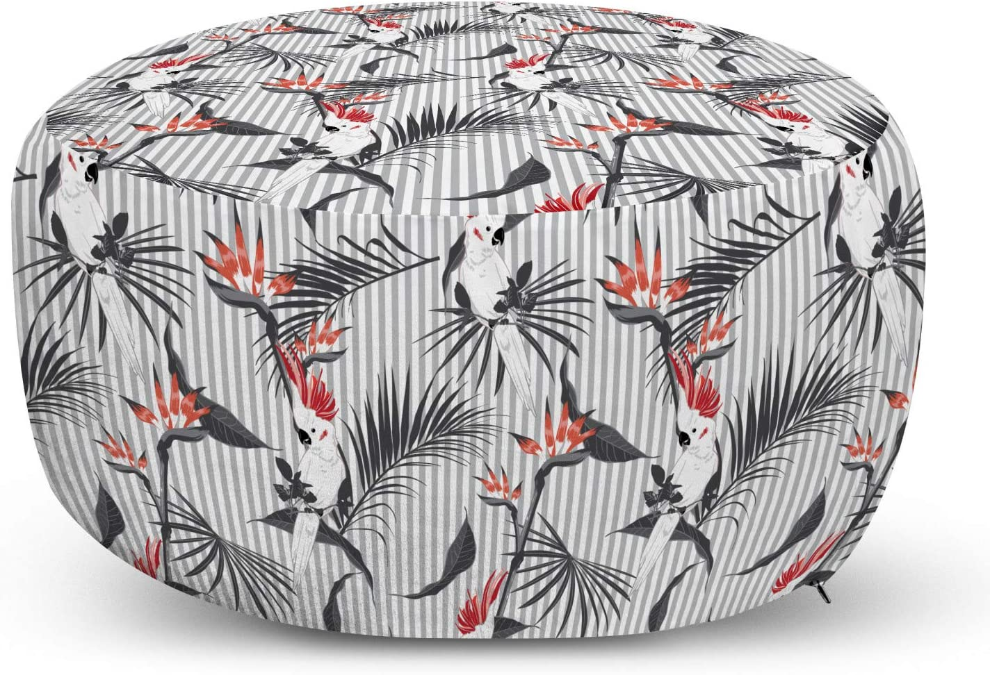 Lunarable Tropical Ottoman Pouf Special Campaign Exotic Cockatoo Parrots Forrest Max 43% OFF