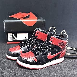 Pair Air Jordan I 1 Retro High Bred Black Red OG Sneakers Shoes 3D Keychain Figure + Shoe Box