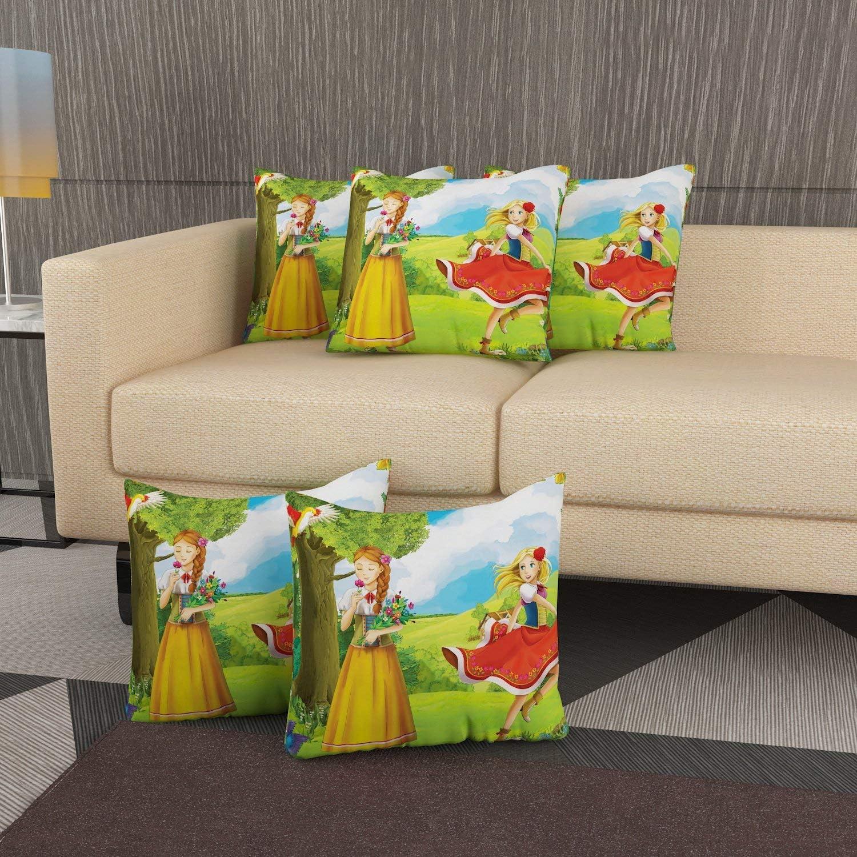 RADANYA Cushion Cover Beautiful Girls Digitally Printed Set of 5 Pcs Decorative Sofa Throw 18X18 Inch