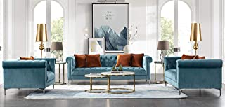 Acanva Luxury Vintage Tufted Velvet Living Room Sofa Set, 3 Piece, Teal