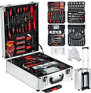 SUNCOO 799 Pieces Mechanics Tool Set Standard Metric Hand Tool Kit with Case Aluminium Tool Box Organizer Casters Trolley with Removable Telescoping Handle Silver Case