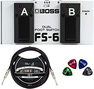BOSS FS-6 Dual Latch and Momentary Foot Switch Pedal for Guitars, Keyboards, and Rhythm Machines Bundle with Hosa 3-FT 1/4-Inch Male to Male Cable, and Blucoil 4-Pack of Celluloid Guitar Picks