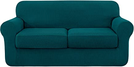 subrtex 2-Seater Sofa Cover with 2 Separate Cushion Covers, Stretch Common Couch Sofa Slipcover Anti-Slip Furniture Protec...