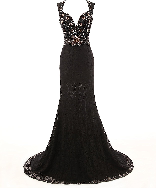 KissBridal Women's Bead Black Lace Celebrity Formal Party Dress Evening Gown A38