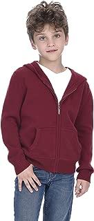 Unisex Kids Zip Up Hoodie Cashmere Merino Wool Long Sleeve Cardigan Sweater with Kangaroo Pocket