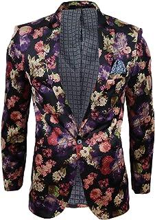 Mens Velvet Floral Paisley Slim Fit Blazer Tuxedo Dinner Jacket Smart Casual