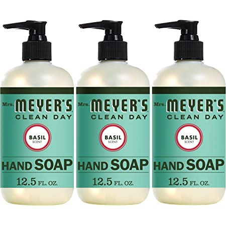 Mrs. Meyer's Clean Day Liquid Hand Soap, Cruelty Free and Biodegradable Hand Wash Formula Made with Essential Oils, Basil Scent, 12.5 oz - Pack of 3