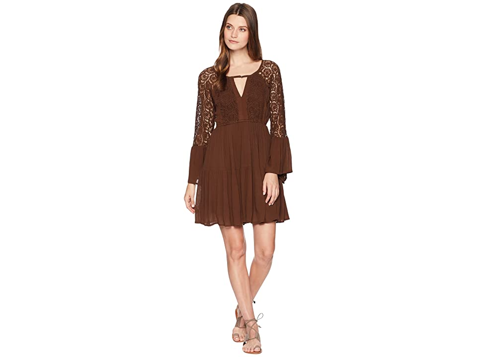 Rock and Roll Cowgirl Bell Sleeve Dress D4-7256 (Chocolate) Women