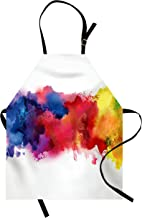 Lunarable Abstract Apron, Vibrant Stains of Watercolor Paint Splatters Brushstrokes Dripping Liquid Art, Unisex Kitchen Bib with Adjustable Neck for Cooking Gardening, Adult Size, Yellow Blue