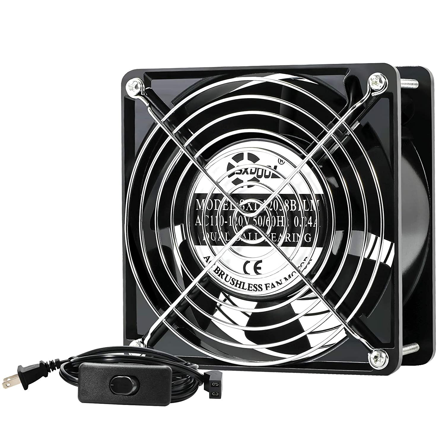 SXDOOL AXIAL Cooling Fan 12cm, AC 115V 120V 120mm x 38mm High Speed CFM with Switch Power Cord, for DIY Ventilation Exhaust Projects