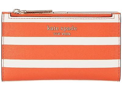 Kate Spade New York Spencer Stripe Small Slim Bifold Wallet (Tamarillo Multi) Wallet Handbags