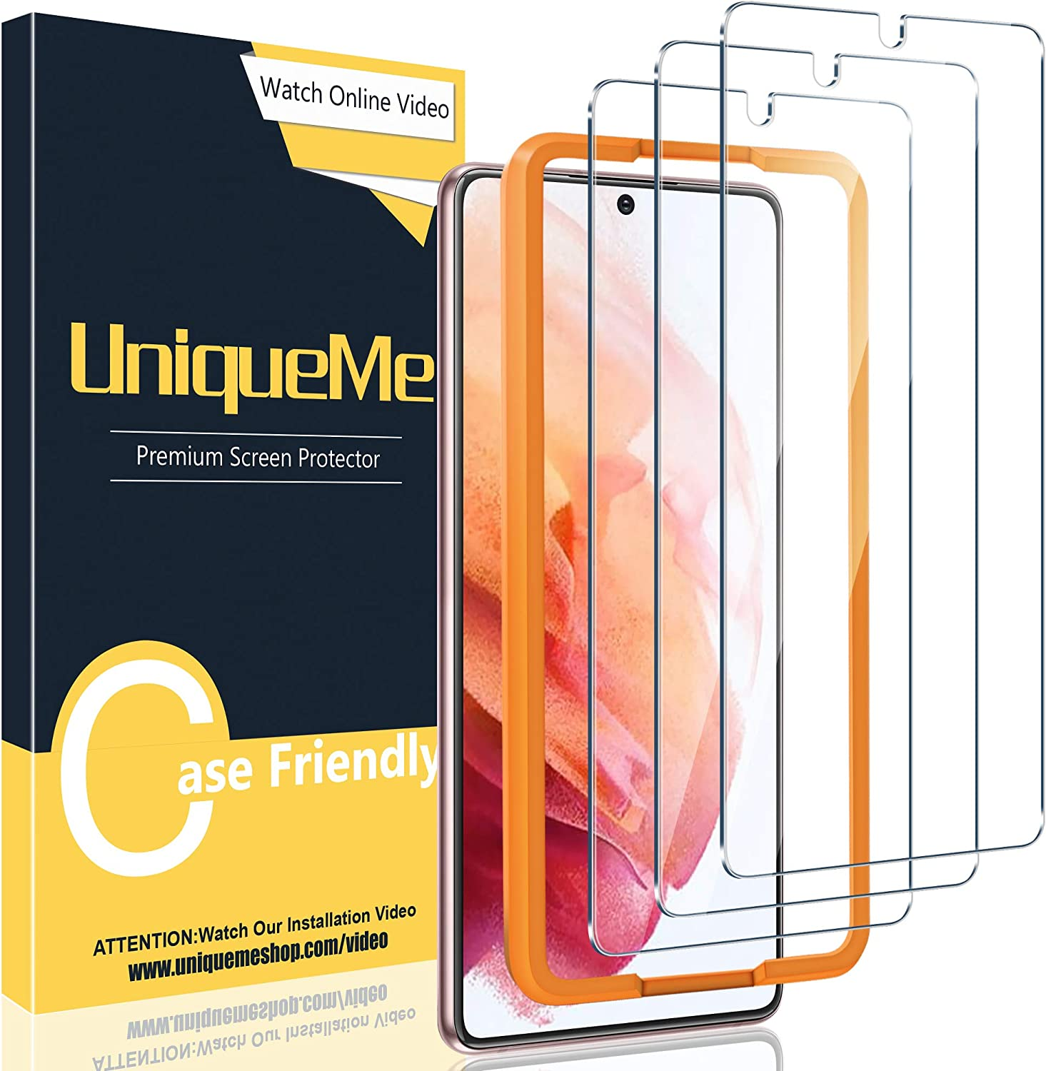 [3 Pack] UniqueMe Compatible with Samsung Galaxy S21 5G - 6.2 inch Tempered Glass Screen Protector with Easy Installation Frame [HD Clear][Anti-Scratch][Bubble Free]【Not for Samsung S21 Plus】
