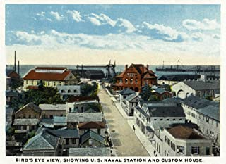 Key West, Florida - Aerial View, US Naval Station and Custom House (16x24 Giclee Gallery Print, Wall Decor Travel Poster)