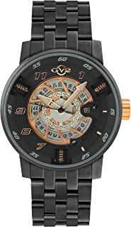 GV2 Men's Motorcycle Sport IP Black Swiss Automatic Watch with Stainless Steel Strap, Gray, 24 (Model: 1305B)