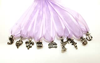 New Orleans Themed Cake Pull Charms - Lavender Ribbon - Set of Nine (9)