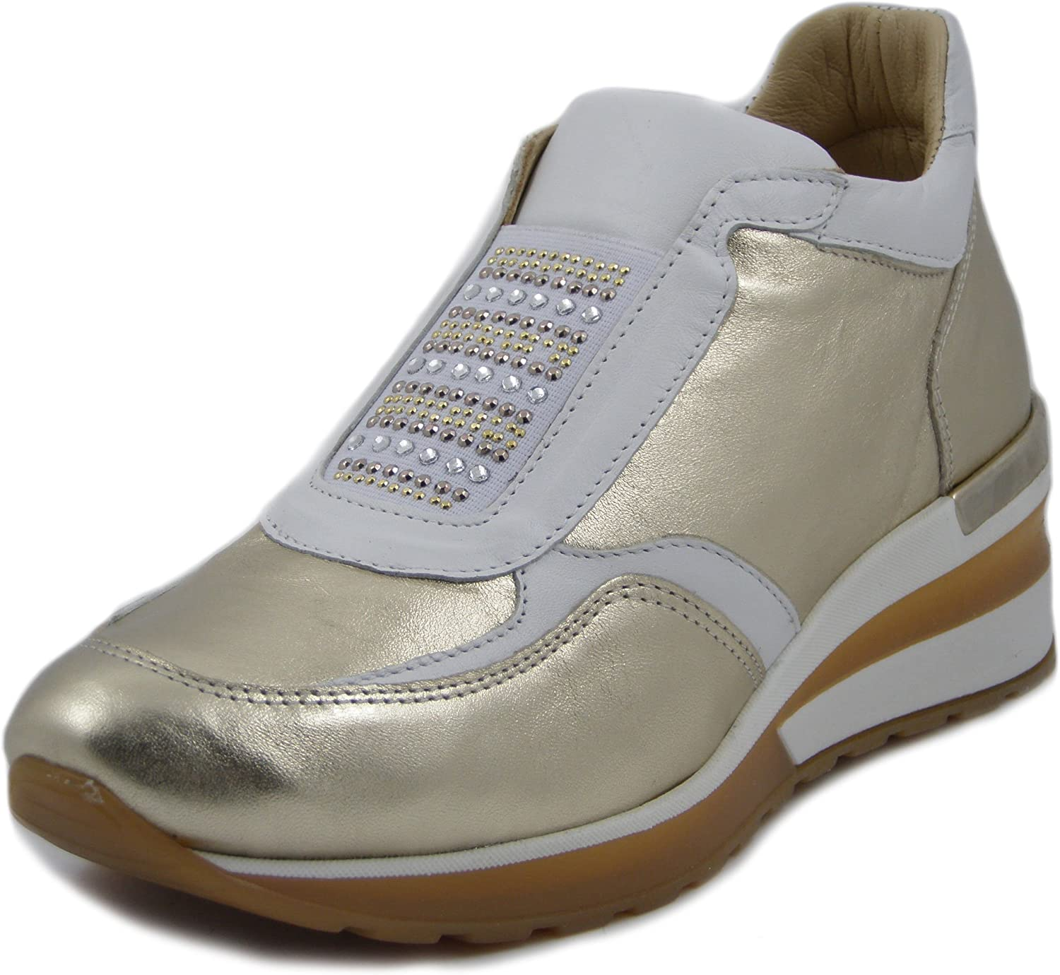 Exton, Slipon in Pelle Coloreee Platino Bianco, Zeppa 5cm,E07P