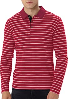 Men's Long Sleeve Stripe Polo Shirts Casual Slim Fit Basic Designed Cotton Shirts