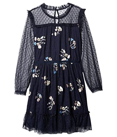 BCBG Girls Embroidered Tulle Dress (Big Kids) (Evening Blue) Girl