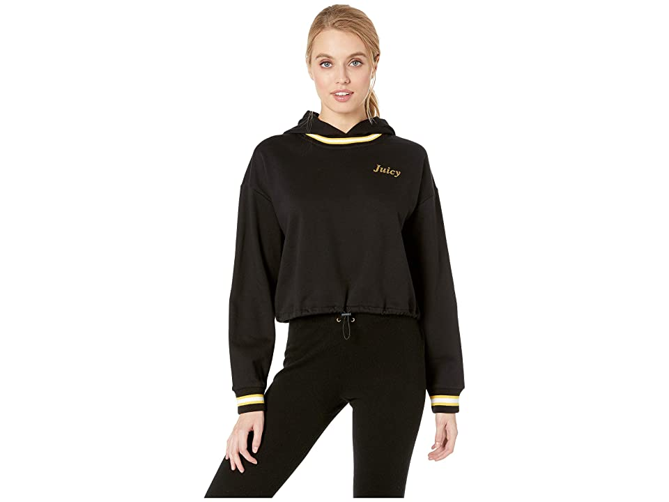 Juicy Couture Logo Detail Cinched Pullover with Hood (Pitch Black) Women