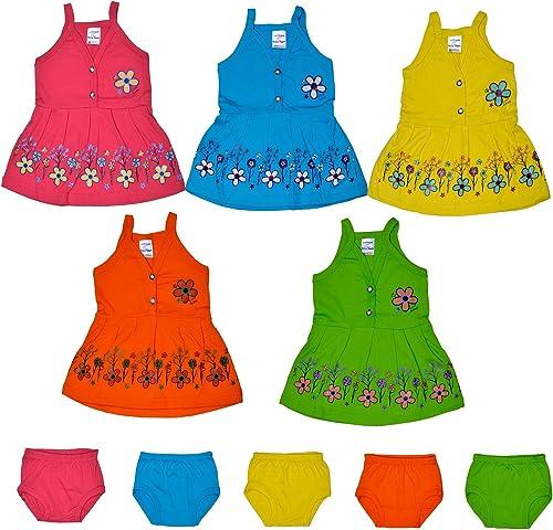 Sathiyas Baby Girls' Knee Length Dress (asvTK153_Multicolored_0-6 Months)
