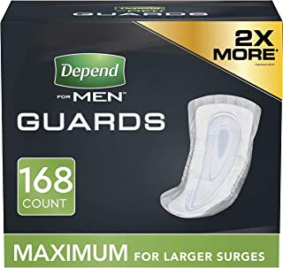 Depend Incontinence Guards/Bladder Control Pads for Men, Maximum Absorbency, 168 (2 Packs..