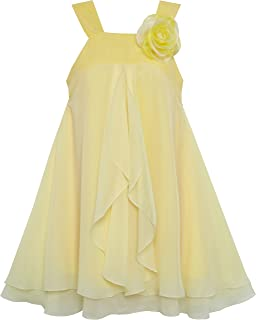 Sunny Fashion Girls Dress Sleeveless Halter Flower Multi Layer Chiffon Size 4-14 Years