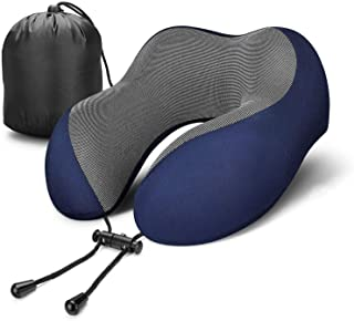 Travel Pillow 100% Pure Memory Foam Neck Pillow, Comfortable & Breathable Cover - Machine Washable, Airplane Travel Kit with 3D Sleep Mask, Earplugs, and Luxury Bag, Blue