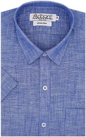 Arihant Men's Plain Cotton Linen Half Sleeves Regular Fit Formal Shirt