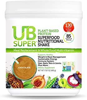UB Super - Meal Replacement - Protein Superfood Nutritional Shake - Vegan, Gluten Free, Non GMO, No Added Sugar, Nutrient Rich - Dietary Supplement (Chocolate, Plant-Based)