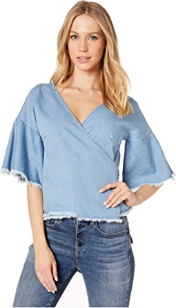 Petunia Denim Washed Wrap Top