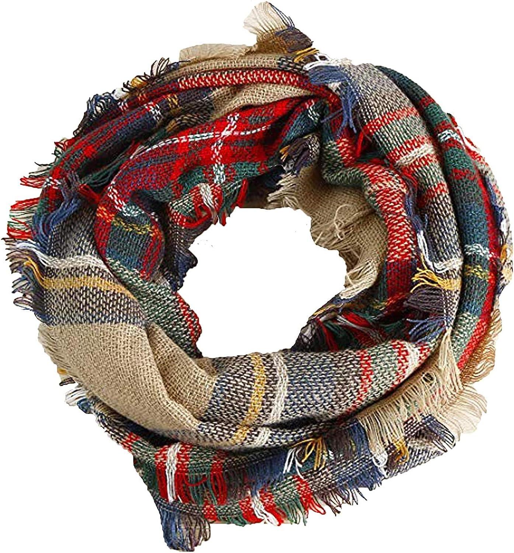 Large Shawl Blanket Shawl MKLP Tassel Scarf Winter Ladies Scarf Large Warm Shawl Plaid Scarf Large Shawl Keep Warm and Prevent Cold For Women