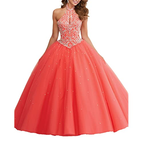 5fc47c89f TaYan Women s Halter Sweet 16 Prom Ball Gowns Crystal Beaded Quinceanera  Dresses