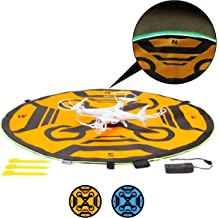 USA Gear Drone Landing Pad with 3 LED Lighting Modes - 30 inch, Weather Resistant, Double Sided - Universal Helipad Launch Pad for Portable RC Quadcopters, Mavic Pro Phantom 4 & More