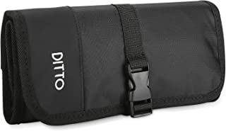 Ditto Electronics Organizer Travel Bag, Small Electronics Accessories Cable Carrying Case Roll Up Pouch for Hard Drives Cables Charger SD Memory Cards Earphone Pen –Black