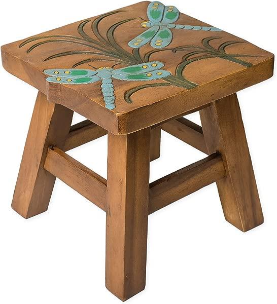 蜻蜓设计手工雕刻金合欢硬木装饰短凳子