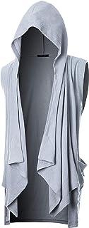 GIVON Mens Sleeveless Ruffle Shawl Collar Cardigan with Pockets