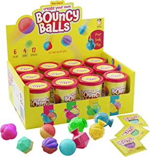 Make Your Own Bouncy Ball Kit - 12 Individual Kits - Science Party Favors - Cool Birthday Party Activities for Kids - Makes 12 Crystal Balls - Fun DIY Bouncy Ball Maker - STEM Prizes, Kids Crafts