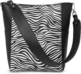BROMEN Handtasche Damen Schultertasche Umhängetasche Groß Shopper Designer Damen Tasche Beuteltasche mit Geldbörse Zebramu...