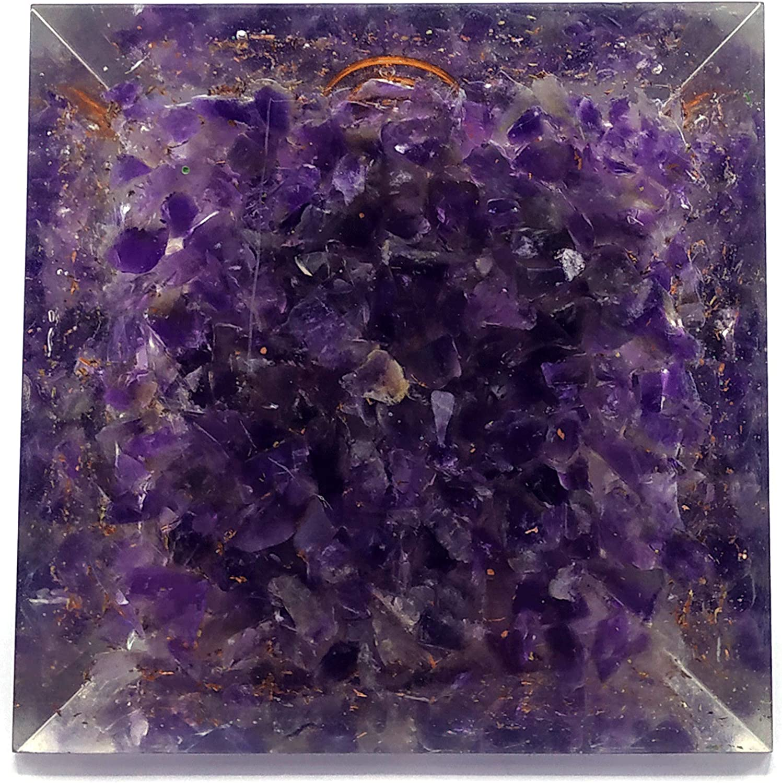 pir/ámide de orgonita 70-85 mm, pir/ámide de cristal NewAgeHealings Pir/ámide de orgonita que brilla en la oscuridad pir/ámide organita amatista, flor de loto de la vida