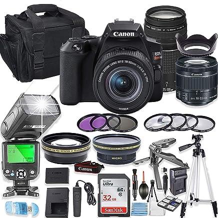 $849 Get Canon EOS Rebel SL3 DSLR Camera Bundle with Canon EF-S 18-55mm STM Lens & EF 75-300mm III Lens + 32GB Sandisk Memory + Camera Case + TTL Flash + Accessory Bundle