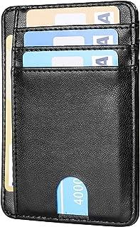 Amazon Brand - Custodia per biglietti da visita in pelle, sottile, per carte di credito e carte di credito
