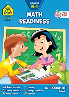 School Zone - Math Readiness Workbook - Ages 4 to 6, Kindergarten, 1st Grade, Numbers 0-12, Counting, Addition, Subtractio...