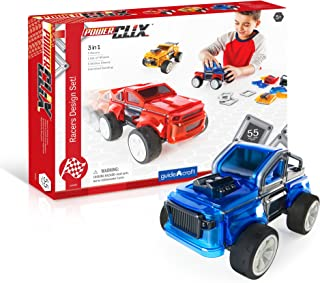 Guidecraft PowerClix Racers Design Set - Build Your Own Race Cars with Vehicle Clips, Wheels and Magnetic Pieces , STEM Le...