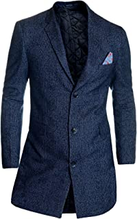 Men's Checkered Overcoat 3/4 Long Jacket Tweed Cashmere Wool Trendy Colours