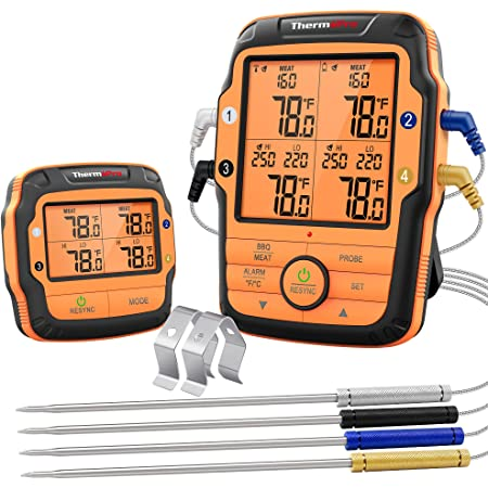 ThermoPro TP27 500FT Long Range Wireless Meat Thermometer for Grilling and Smoking with 4 Probes Smoker BBQ Grill Thermometer Kitchen Food Cooking Thermometer for Meat