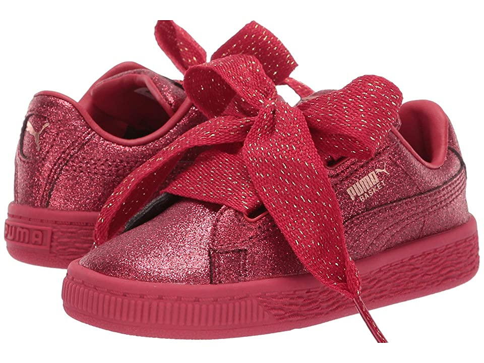 Puma Kids Basket Heart Holiday Glamour Inf (Toddler) (Ribbon Red/Rose Gold) Girls Shoes
