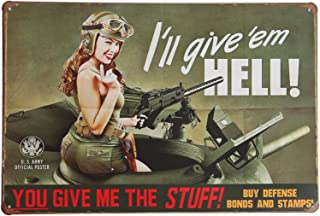 ERLOOD You Give Me The Stuff,I Will Give'em Hell Retro Vintage Decor Metal Tin Sign 12 X 8 Inches